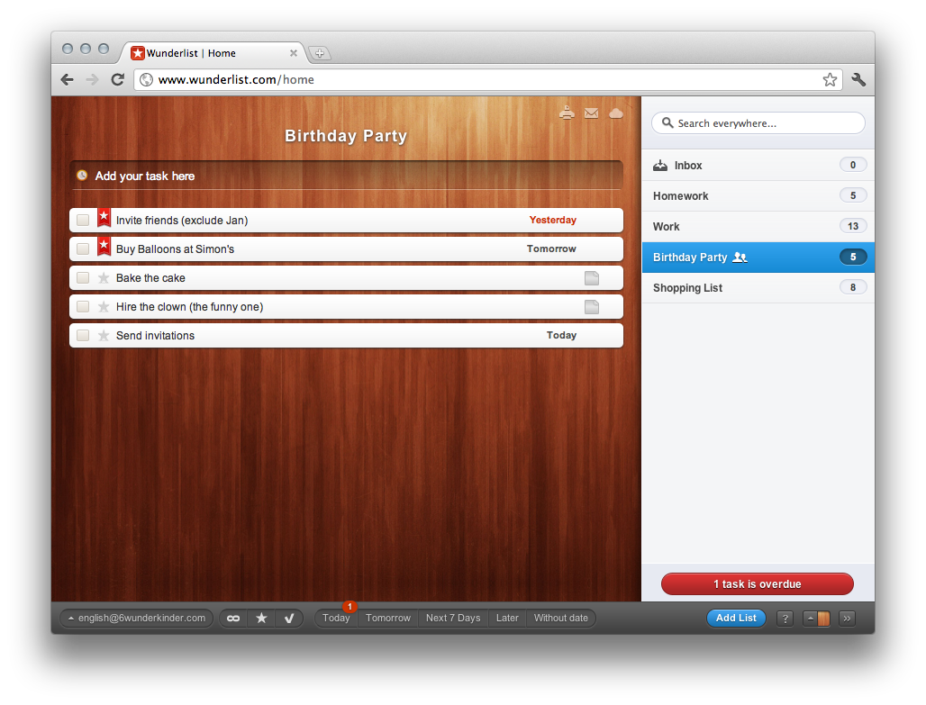 GTD App Review - Wunderlist • Tom Philip - Full Stack, Rails